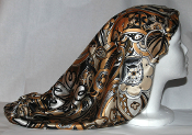 Charmeuse Silk Sleep Cap Adjustable [B, W & Gold Paisley] 22""